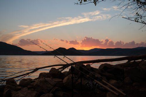 Karpfenruten mit Sonnenuntergang im Hintergrund am Lac du Salagou